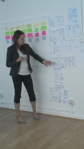 Caroline takes everyone through her own wireframes and workflow ideas